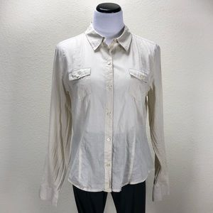 Halogen Tan Cotton Long Sleeve Button Down Shirt